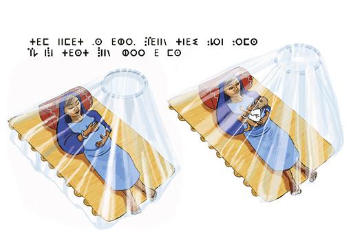 illustration:utiliser une moustiquaire pour les bébés et les femmes enceintes
