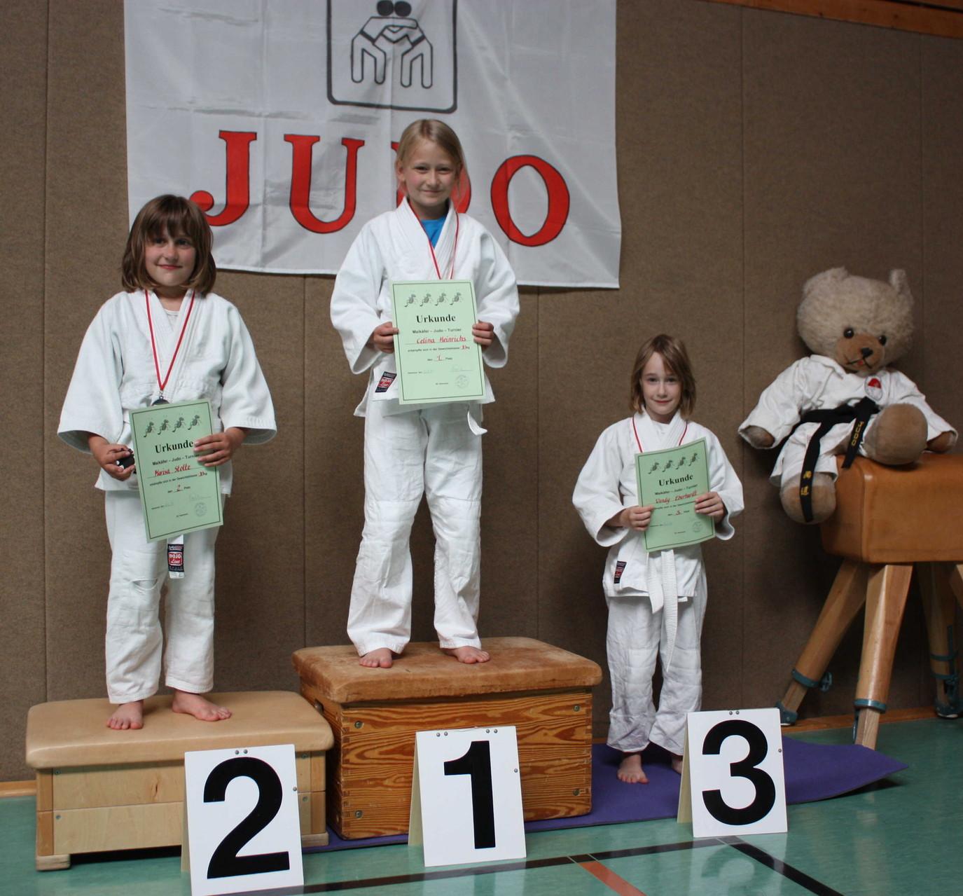 Die starken Mädchen bis 31 kg bei der Siegerehrung – incl. Vereinsmaskottchen.