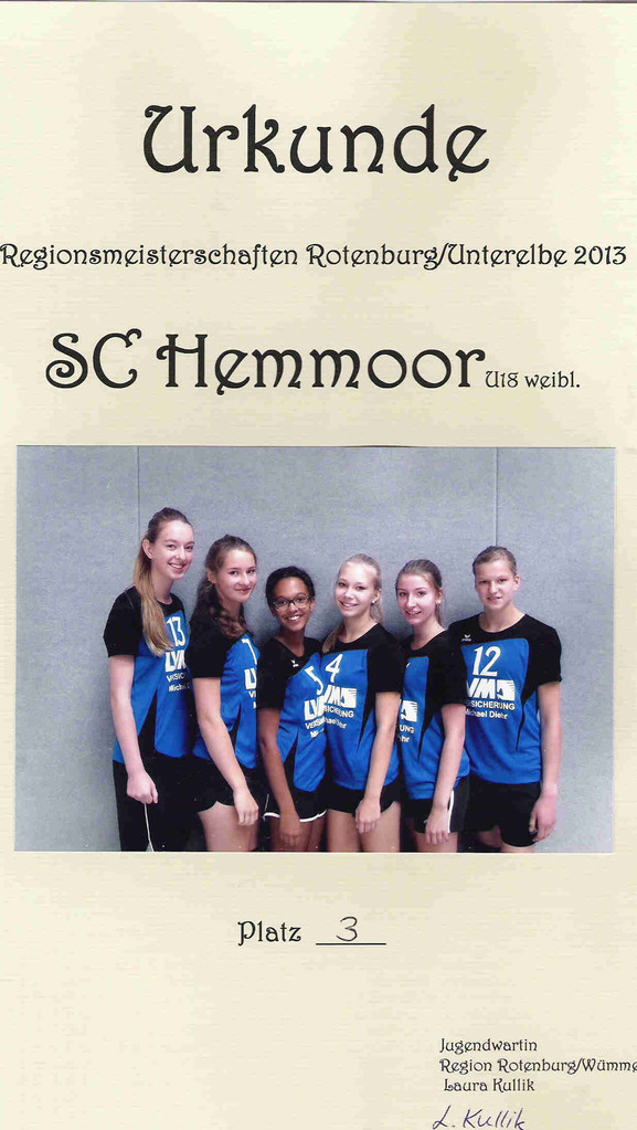 U18 v.L. Bianca Griemsmann (Hem), Mareike Busch (Cux), Cleo Wiafe (Cux), Pia Schnibbe (Cux), Louisa Brüggemann (Hem), Annina Tiedemann (Hem). Es fehlen Carolin Werner, Tasja Skaritsch, Finja Nagel, Miriam Kackmann und Jette Behrens (alle Hem)