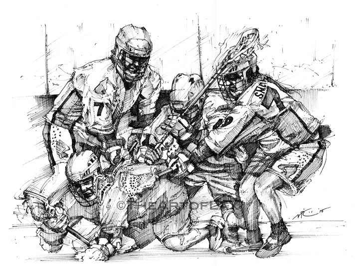 """Knighthawks""  Pen & ink on bristol board.  Ontario, Canada.  2010."