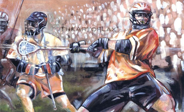 'Lacrosse Montage'  Oil on board. 16x22 inches, framed. 1999.