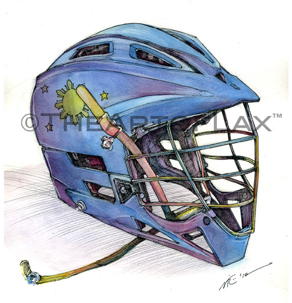 """Philippines Lacrosse""  14x14 inches.  Mixed media on watercolor paper.  Present for Ron Garcia.  Colorado Springs, CO.  2012."