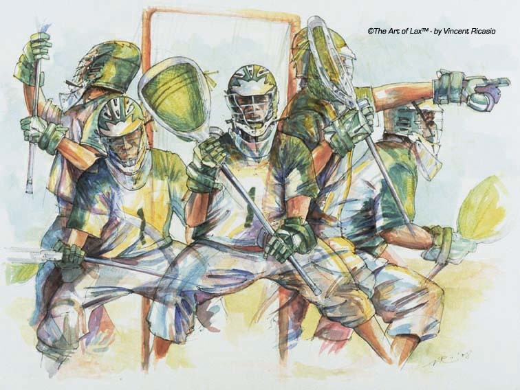 'Goalie Motion'  Watercolor.  15x20 inches, framed.  2008.