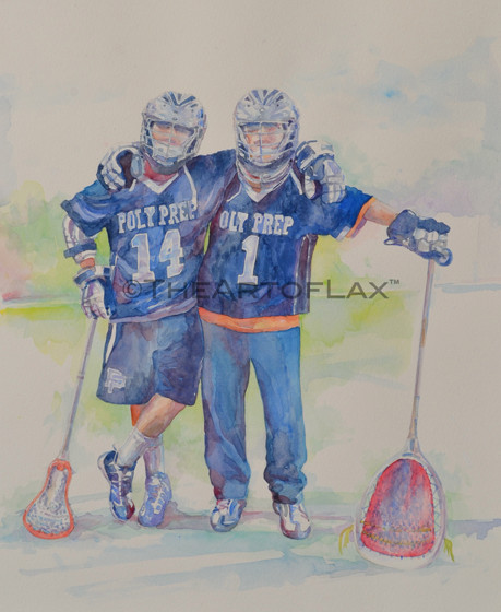 """Chris & Dylan Moser""  11x15 inches.  Watercolor.  For John Moser.  New York, NY.  2011."