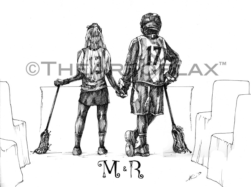 """Mr. & Mrs. Mark Buckley""  14x17 inches.  Pen & ink on bristol board.  United Kingdom.  2013."
