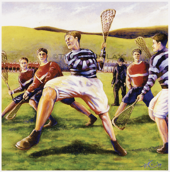 'Lacrosse 1880's'  Oil on board.  1999.