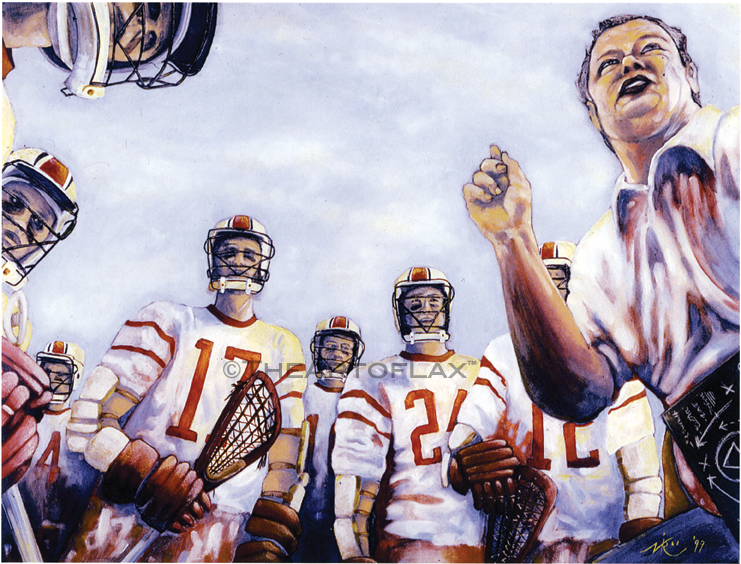 'In the huddle'  Oil on board.  20x30 inches, unframed.  1999.