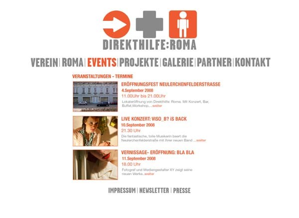 webdesign - direkthilfe:roma | graphic design by visob
