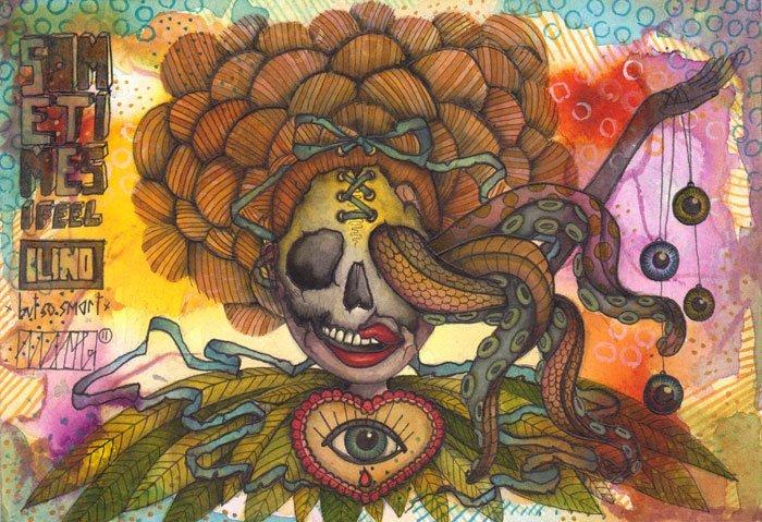 sometimesifeelsoblindbutsosmart |105 x 148mm | watercolor pigmentliner | 2011