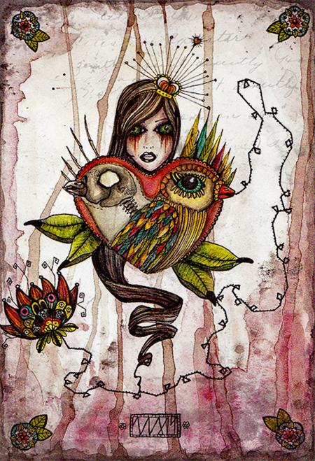 bird:love |105 x 148 | watercolor pigmentliner | 2011| SOLD