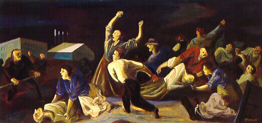 """""""Youngstown Strike"""" by William Gropper (1937)"""