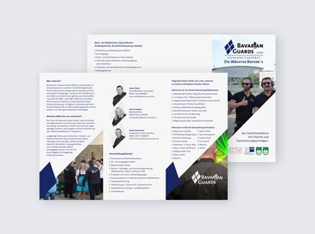 Gestaltung / Imageflyer / Sicherheitsdienst BavarianGuards
