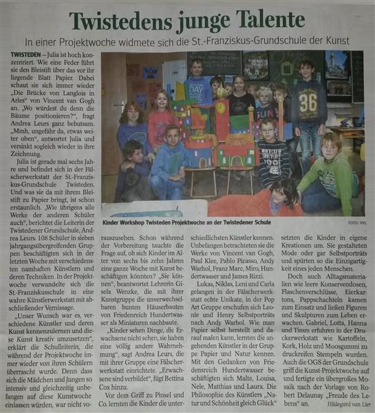 Zeitungsartikel aus dem Kevelaerer Blatt vom 04.12.2014