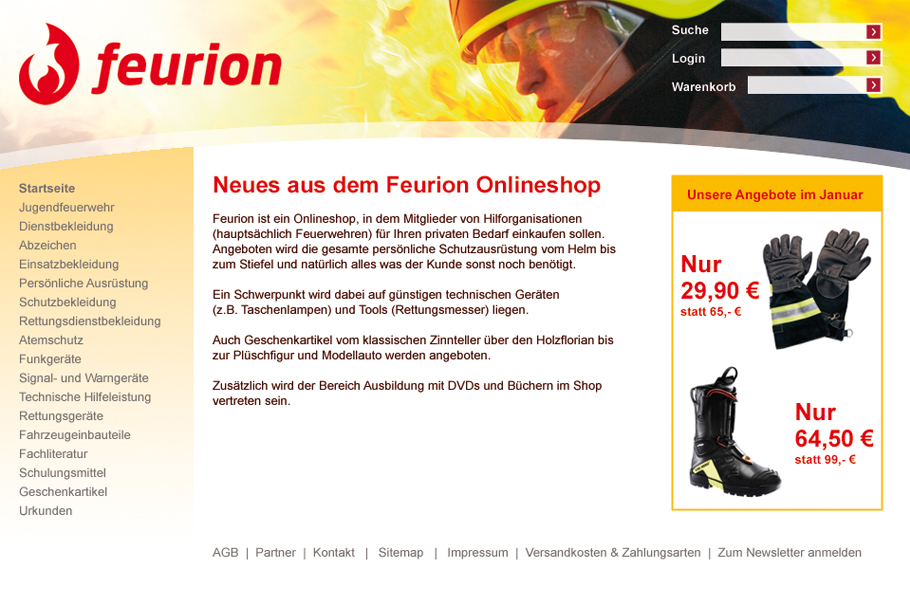 Webdesign für den Feurion Online Shop _ Pitch