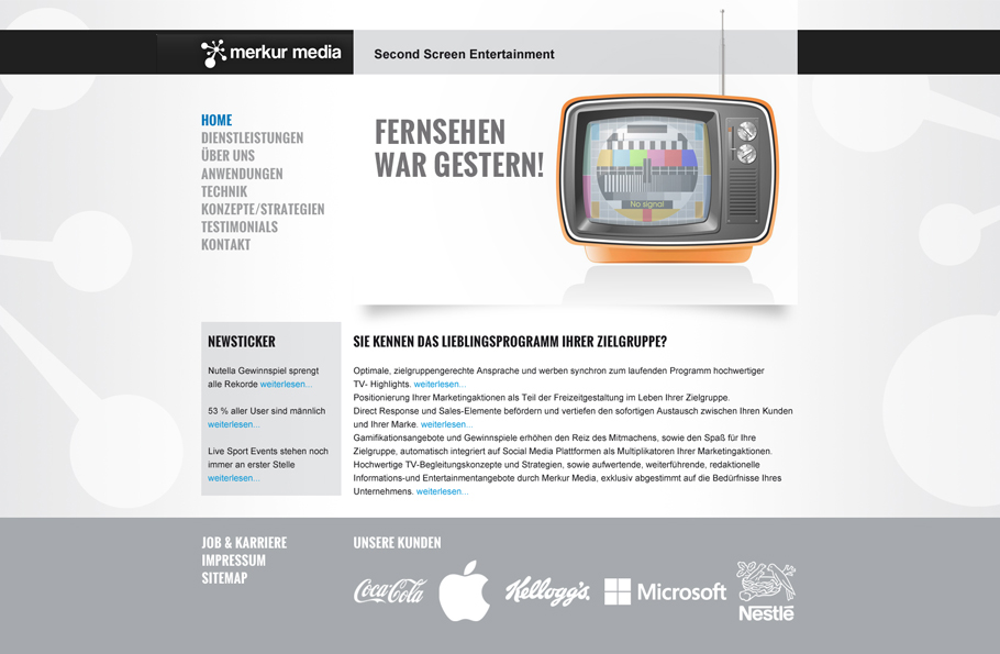 Webdesign für Merkur Media _ Pitch