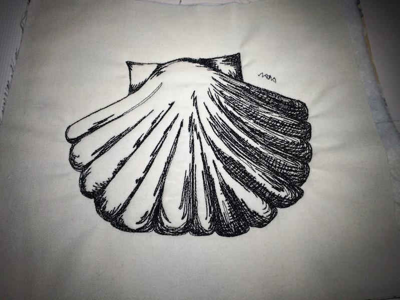 Muschel nach eigener Zeichnung gequiltet