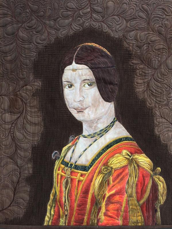 La Belle Ferronnière gemalt und gequiltet