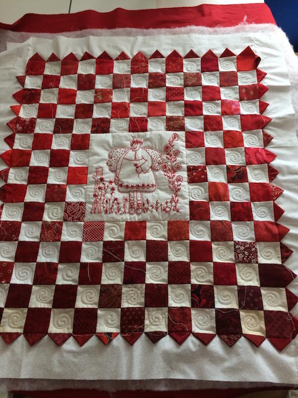 Redwork-Quilt (Quiltauftrag)