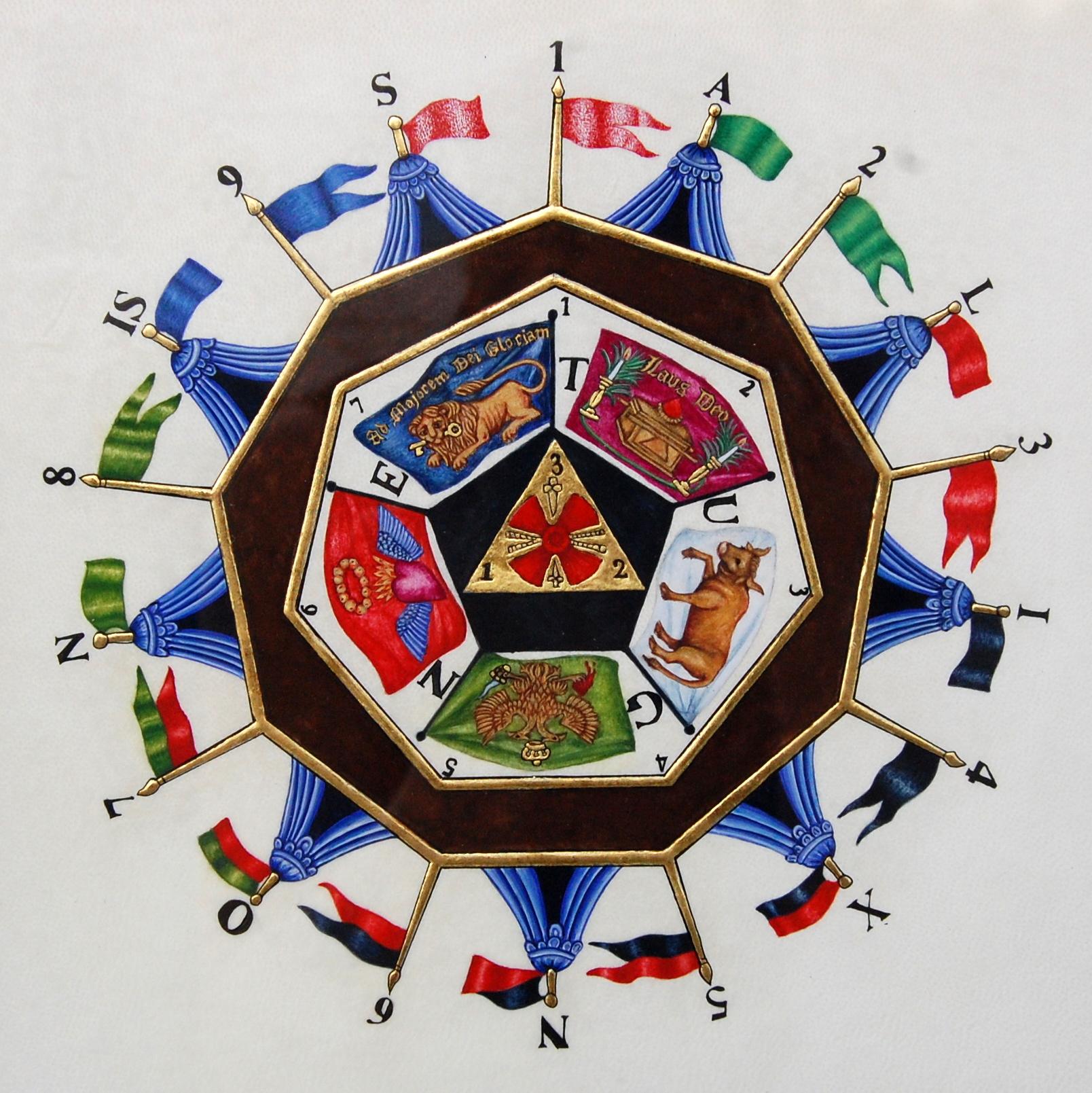 Le sceau du Sublime Prince du Royal Secret réalisé en enluminure par Sandra Clerbois.