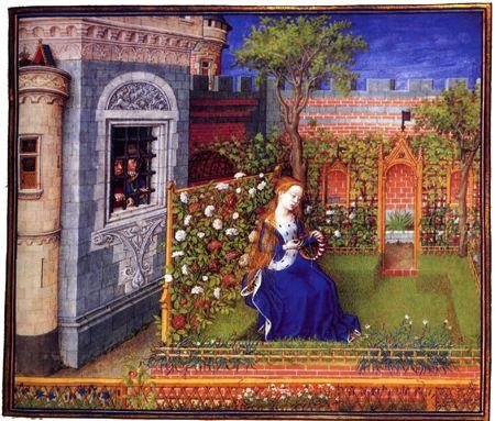 Emilie dans son jardin. Théséide. Bathélémy d'Eyck dit le Maitre du roi rené entre 1460 et 1465. Ce manuscrit La Théséide, écrit par Boccace est conservé à la Bibliothèque Nationale de Vienne.