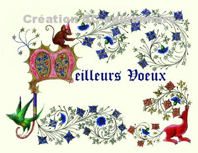 Carte de vœux. Meilleurs voeux enluminés . Création SC-enluminure. Sandra Clerbois