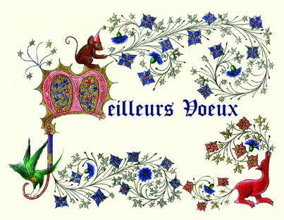 Carte de Voeux réalisée par Sandra Clerbois à l'atelier sc-enluminure