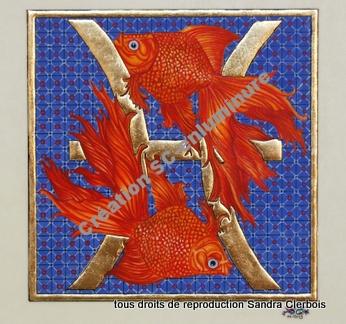 Signe du zodiaque enluminé Poissons. Enluminure originale. Création SC-enluminure. Sandra Clerbois