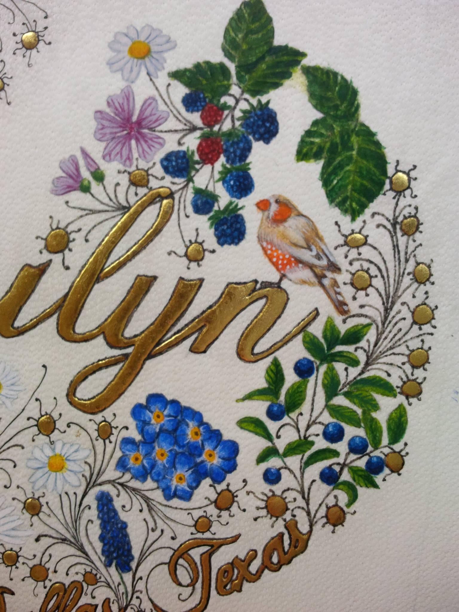 Marilyn - prénom enluminé  réalisé par Sandra Clerbois et l'atelier sc-enluminure