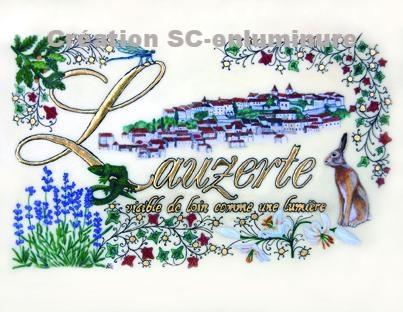 Carte postale enluminée Lauzerte. Création SC-enluminure. Sandra Clerbois