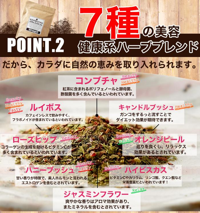 ■POINT.2 7種の美容健康系ハーブブレンド だから、カラダに自然の恵みを取り入れられます。 コンブチャ Beauty Healthy 紅茶に含まれるポリフェノールと酵母菌、酢酸菌を多く含んでいるといわれています。 ルイボス Beauty Healthy Tasty カフェインレスで飲みやすく、フラポノイドが含まれているといわれています。 キャンドルブッシュ Healthy ガンコをするっと流すことでダイエット効果が期待できます。 ローズヒップ Beauty コラーゲンの生成を助けるビタミンCが多く含