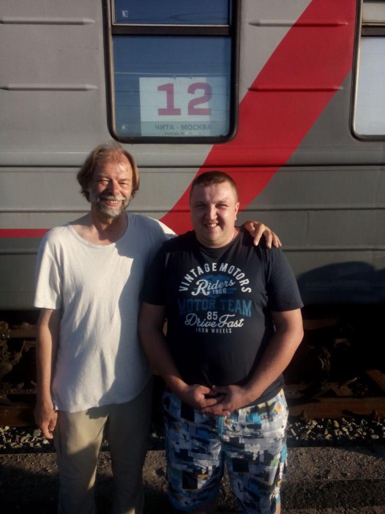 mit Denis am Zug