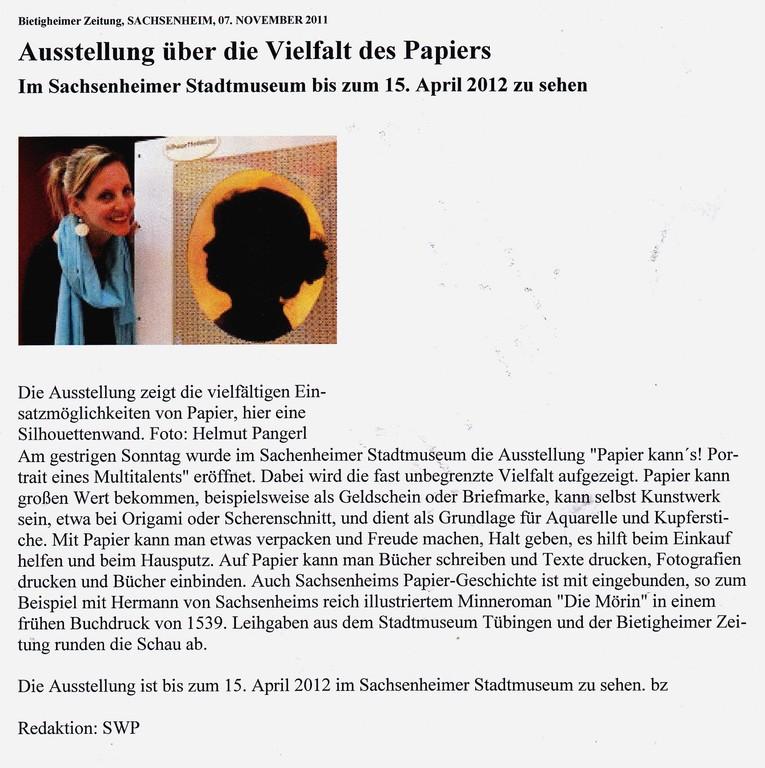 Bietigheimer Anzeiger, 07.11.2011