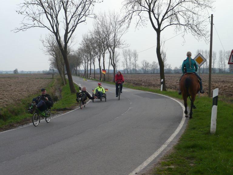 Liegeräder und Pferde, auch diese Begegnung ging gut aus.