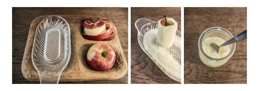 Zubereitung geriebener Apfel