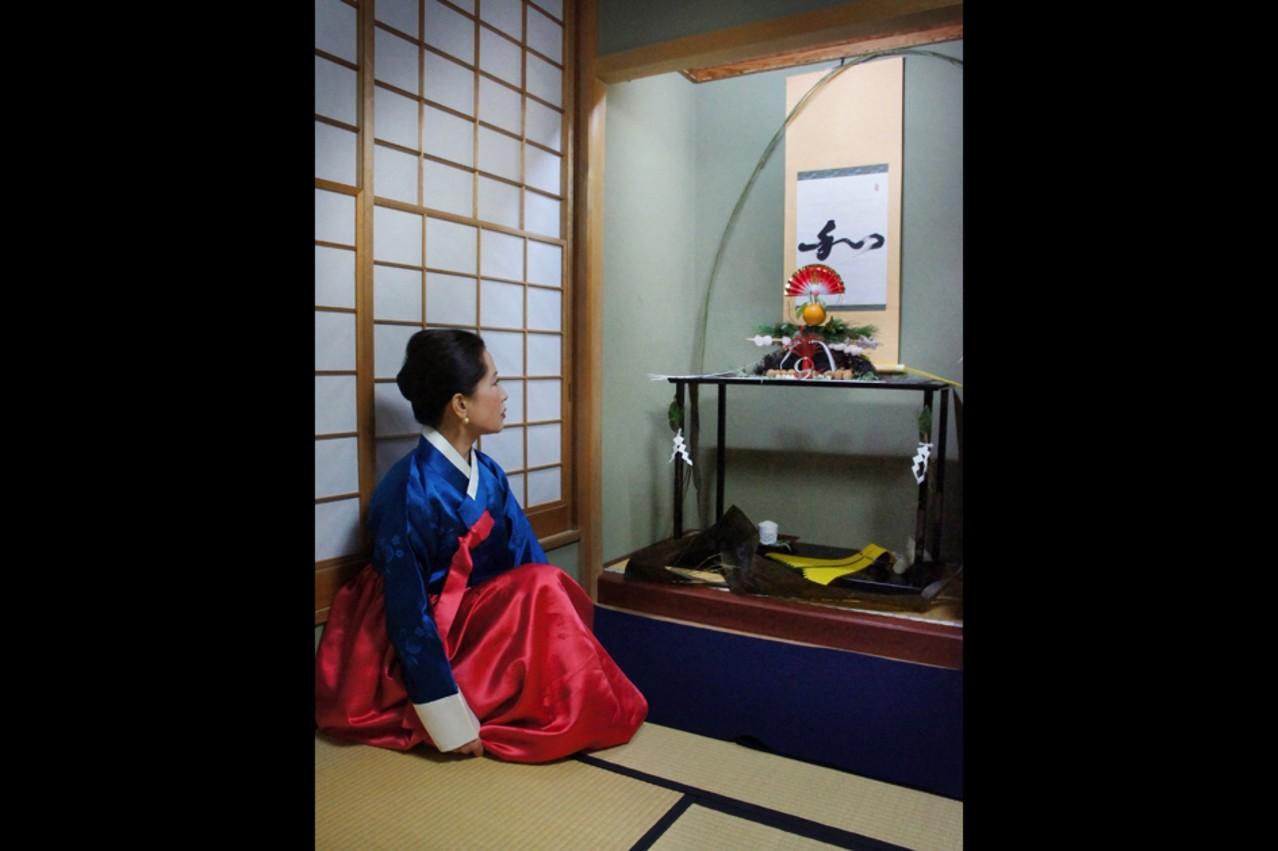 1月6日韓国茶道家・李瑛子氏床拝見(大野 暁撮影)