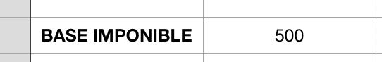 Base imponible en una celda de Excel
