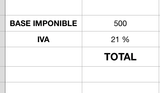 Base imponible, Iva y total en una factura echa en Numbers
