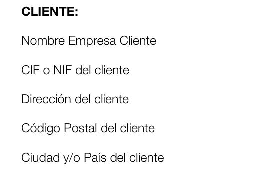 Factura por partes, datos identificativos del cliente.
