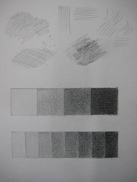 鉛筆のタッチ練習