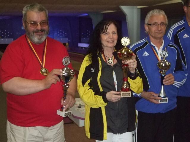 Bester Kegler v.l.n.r Kunze (Senioren), Rück (Damen), Rothmeier (Herren)