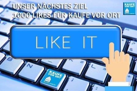 Neues Ziel: 1000 Likes auf Facebook - kaufevororts Webseite!