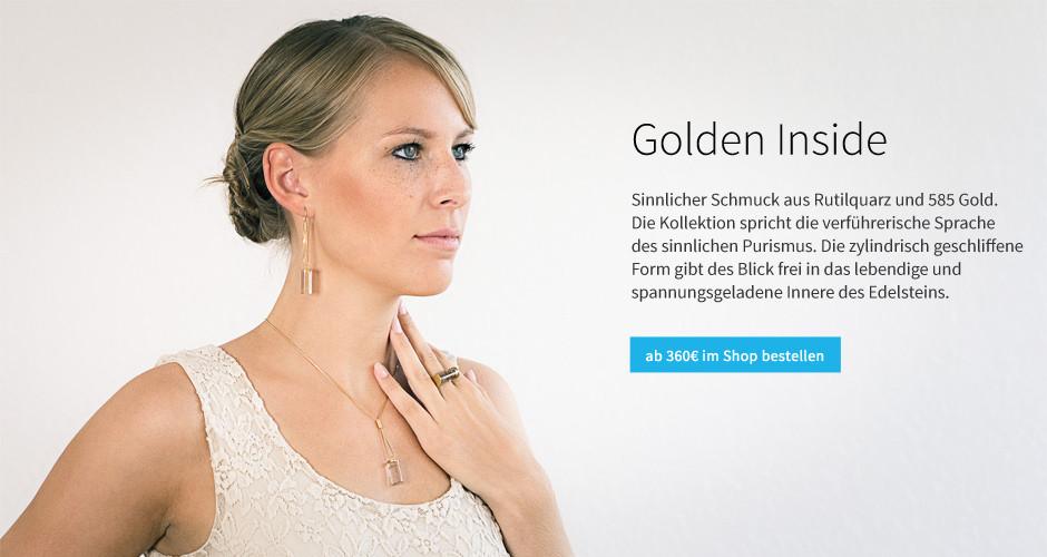 """Ohrringe, Ring und Halsschmuck aus der Kollektion """"Golden Inside"""" / Rutilquarz, 585 Gold"""