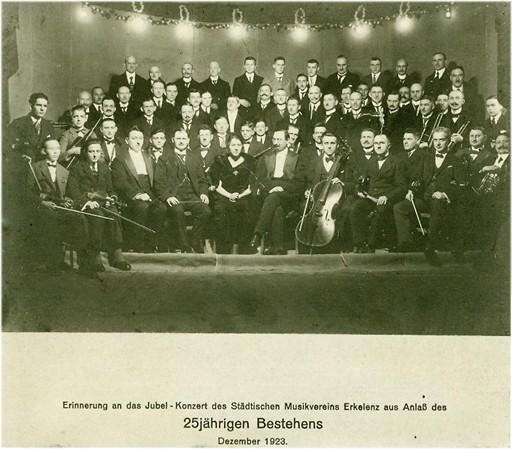 Städtischer Musikverein Erkelenz im Dezember 1923 - beim vermeintlichen 25-jährigen Jubiläum