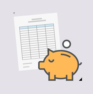 家計簿とブタの貯金箱のイラスト