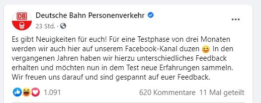 Die Deutsche Bahn ändert Ihre Ansprache auf Facebook. Aus dem Sie soll in Zukunft DU werden. Was ist auf Social Media die richtige Ansprache für Unternehmen? Wir haben Ihnen hier den Artikel zusammengefasst.