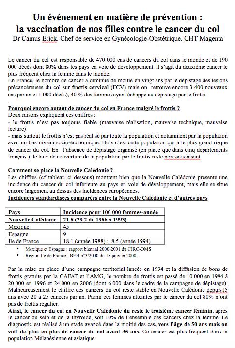 Réseau Périnatal de Nouvelle-Calédonie - Vaccination Papillomavirus