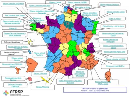 Carte des Réseaux de Périnatalité en France et en Outre-Mer