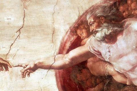 Leonardo da Vinci - Gott berührt Adam - Sixtinische Kapelle