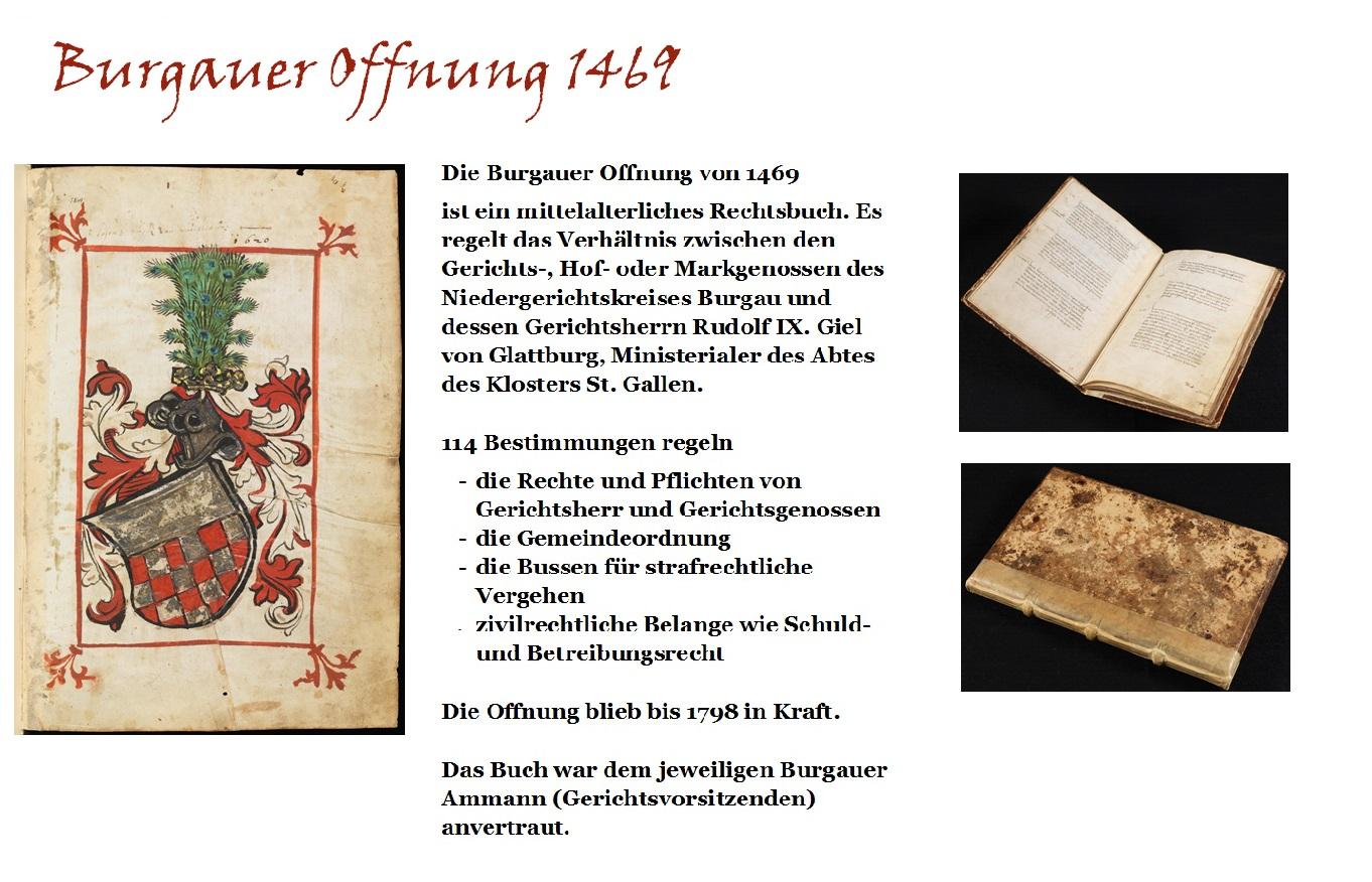 Einband und Einblick in die Burgauer Offnung von 1469, mit dem Wappen der Gielen, eine der reichhaltigsten mittelalterlichen Rechtsquellen> www.e-codices.ch
