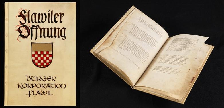 Einband (neueren Datums) und Einblick in die Flawiler Offnung aus dem 15. Jahrhundert. Verwaltungs- und Gesetzbuch für die niedere Gerichtsberkeit > www.e-codices.ch